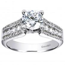 14k White Gold 0.52ct Diamond Gabriel & Co Straight Semi Mount Engagement Ring
