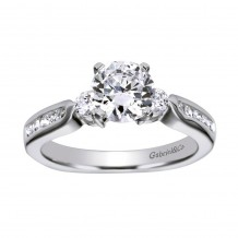 14k White Gold 0.33ct Diamond Gabriel & Co 3 Stone Semi Mount Engagement Ring