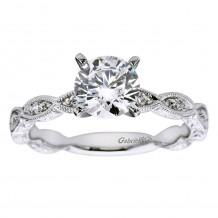 14k White Gold 0.13ct Diamond Gabriel & Co Straight Semi Mount Engagement Ring