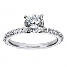 14k White Gold 0.38ct Diamond Gabriel & Co Straight Semi Mount Engagement Ring