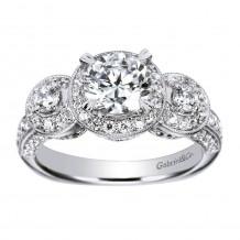 14k White Gold 0.63ct Diamond Gabriel & Co Halo Semi Mount Engagement Ring
