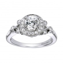 14k White Gold 0.27ct Diamond Gabriel & Co Halo Semi Mount Engagement Ring