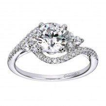14k White Gold 0.34ct Diamond Gabriel & Co Bypass Semi Mount Engagement Ring