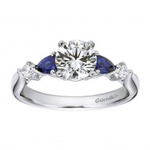 14k White Gold 0.62ctw Diamond and Sapphire Gabriel & Co Straight Semi Mount Engagement Ring