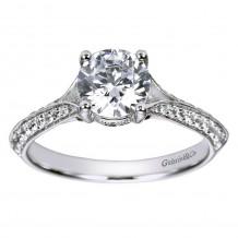 14k White Gold 0.32ct Diamond Gabriel & Co Split Shank Semi Mount Engagement Ring
