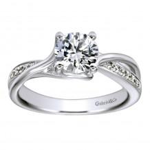 14k White Gold 0.16ct Diamond Gabriel & Co Bypass Semi Mount Engagement Ring
