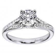 14k White Gold 0.25ct Diamond Gabriel & Co Split Shank Semi Mount Engagement Ring