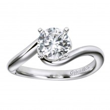 14k White Gold Gabriel & Co Bypass Semi Mount Engagement Ring