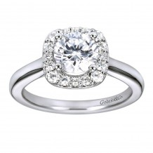 14k White Gold 0.29ct Diamond Gabriel & Co Halo Semi Mount Engagement Ring