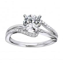 14k White Gold 0.20ct Diamond Gabriel & Co Bypass Semi Mount Engagement Ring