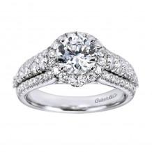 14k White Gold 0.90ct Diamond Gabriel & Co Halo Semi Mount Engagement Ring