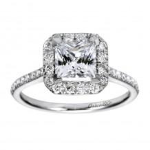 14k White Gold 0.37ct Diamond Gabriel & Co Halo Semi Mount Engagement Ring