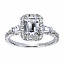 14k White Gold 0.60ct Diamond Gabriel & Co Halo Semi Mount Engagement Ring