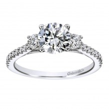 14k White Gold 0.45ct Diamond Gabriel & Co 3 Stone Semi Mount Engagement Ring