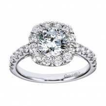14k White Gold 0.95ct Diamond Gabriel & Co Halo Semi Mount Engagement Ring