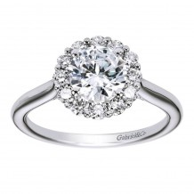 14k White Gold 0.42ct Diamond Gabriel & Co Halo Semi Mount Engagement Ring