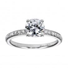 14k White Gold 0.25ct Diamond Gabriel & Co Straight Semi Mount Engagement Ring