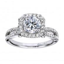 14k White Gold 0.50ct Diamond Gabriel & Co Halo Semi Mount Engagement Ring
