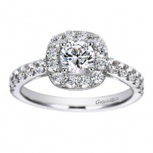 14k White Gold 0.72ct Diamond Gabriel & Co Halo Semi Mount Engagement Ring