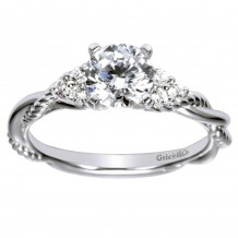 14k White Gold 0.13ct Diamond Gabriel & Co Criss Cross Semi Mount Engagement Ring