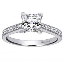14k White Gold 0.32ct Diamond Gabriel & Co Straight Semi Mount Engagement Ring