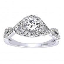 14k White Gold 0.25ct Diamond Gabriel & Co Criss Cross Semi Mount Engagement Ring