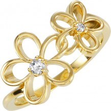 14k Yellow Gold Diamond Floral Fashion Ring