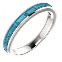 14k White Gold Blue Topaz Stackable Ring