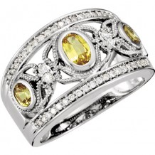 14k White Gold Yellow Sapphire and Diamond Butterfly Band