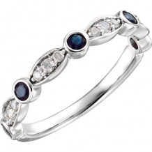 14k White Gold Diamond and Sapphire Stackable Ring