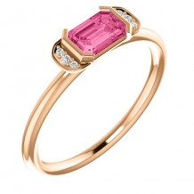 14k Rose Gold Diamond and Pink Tourmaline Stackable Ring
