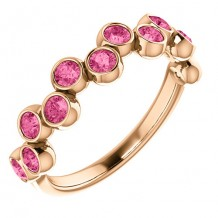14k Rose Gold Pink Tourmalone Stackable Ring