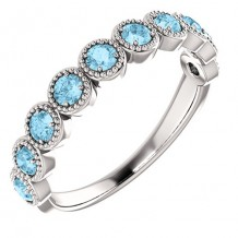 14k White Gold Aquamarine Beaded Stackable Ring