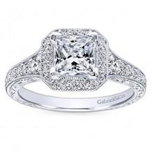 14k White Gold 0.70ct Diamond Gabriel & Co Halo Semi Mount Engagement Ring