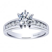 14k White Gold 0.41ct Diamond Gabriel & Co Straight Semi Mount Engagement Ring