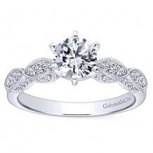 14k White Gold 0.10ct Diamond Gabriel & Co Straight Semi Mount Engagement Ring