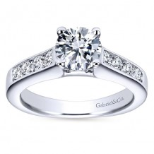 14k White Gold 0.51ct Diamond Gabriel & Co Straight Semi Mount Engagement Ring