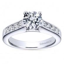 14k White Gold 0.51ct Diamond Gabriel & Co Straight Semi Mount Engagement Ring