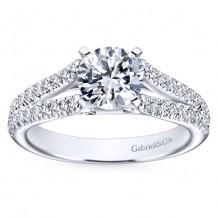 14k White Gold 0.40ct Diamond Gabriel & Co Split Shank Semi Mount Engagement Ring