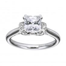 14k White Gold 0.21ct Diamond Gabriel & Co Straight Semi Mount Engagement Ring