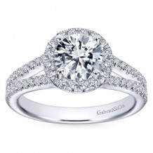 14k White Gold 0.52ct Diamond Gabriel & Co Halo Semi Mount Engagement Ring