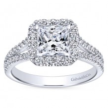 14k White Gold 0.57ct Diamond Gabriel & Co Halo Semi Mount Engagement Ring