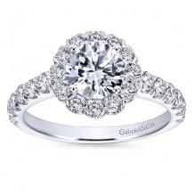 14k White Gold 0.84ct Diamond Gabriel & Co Halo Semi Mount Engagement Ring