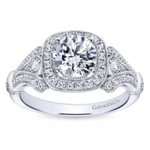14k White Gold 0.42ct Diamond Gabriel & Co Halo Semi Mount Engagement Ring