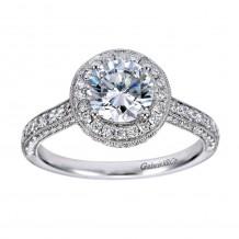 14k White Gold 0.73ct Diamond Gabriel & Co Halo Semi Mount Engagement Ring