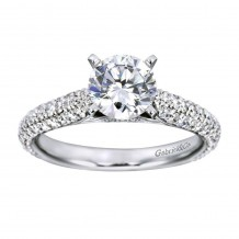 14k White Gold 0.70ct Diamond Gabriel & Co Straight Semi Mount Engagement Ring