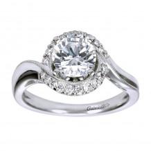 14k White Gold 0.20ct Diamond Gabriel & Co Halo Semi Mount Engagement Ring