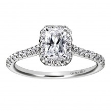 14k White Gold 0.34ct Diamond Gabriel & Co Halo Semi Mount Engagement Ring