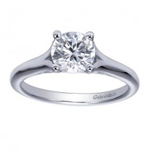 14k White Gold Gabriel & Co Solitaire Semi Mount Engagement Ring