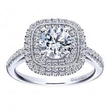 14k White Gold 0.48ct Diamond Gabriel & Co Double Halo Semi Mount Engagement Ring